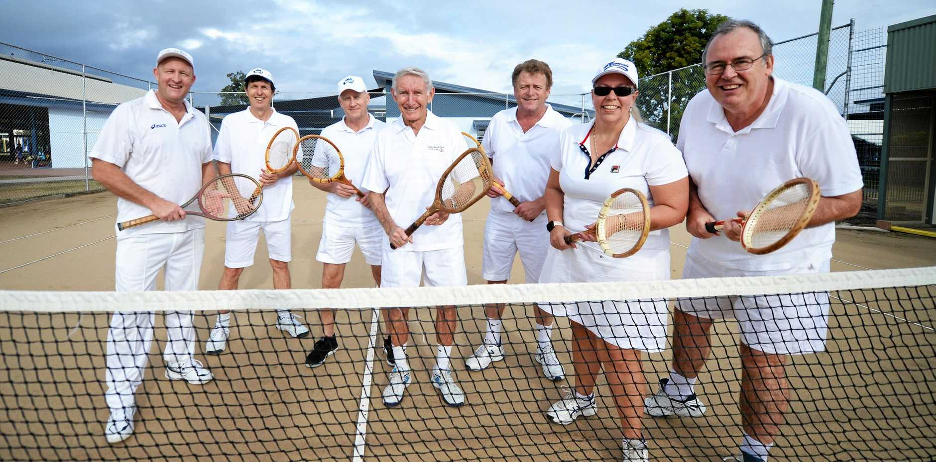 FLASHBACK: Tennis players Gordon Acutt, Warren Acutt, Lance Baxter, Des Campbell, Peter Lynch, Julie Collins and Peter Lawrence will don all white and play with wooden racquets in the annual Olive McBryde Challenge on Sunday.