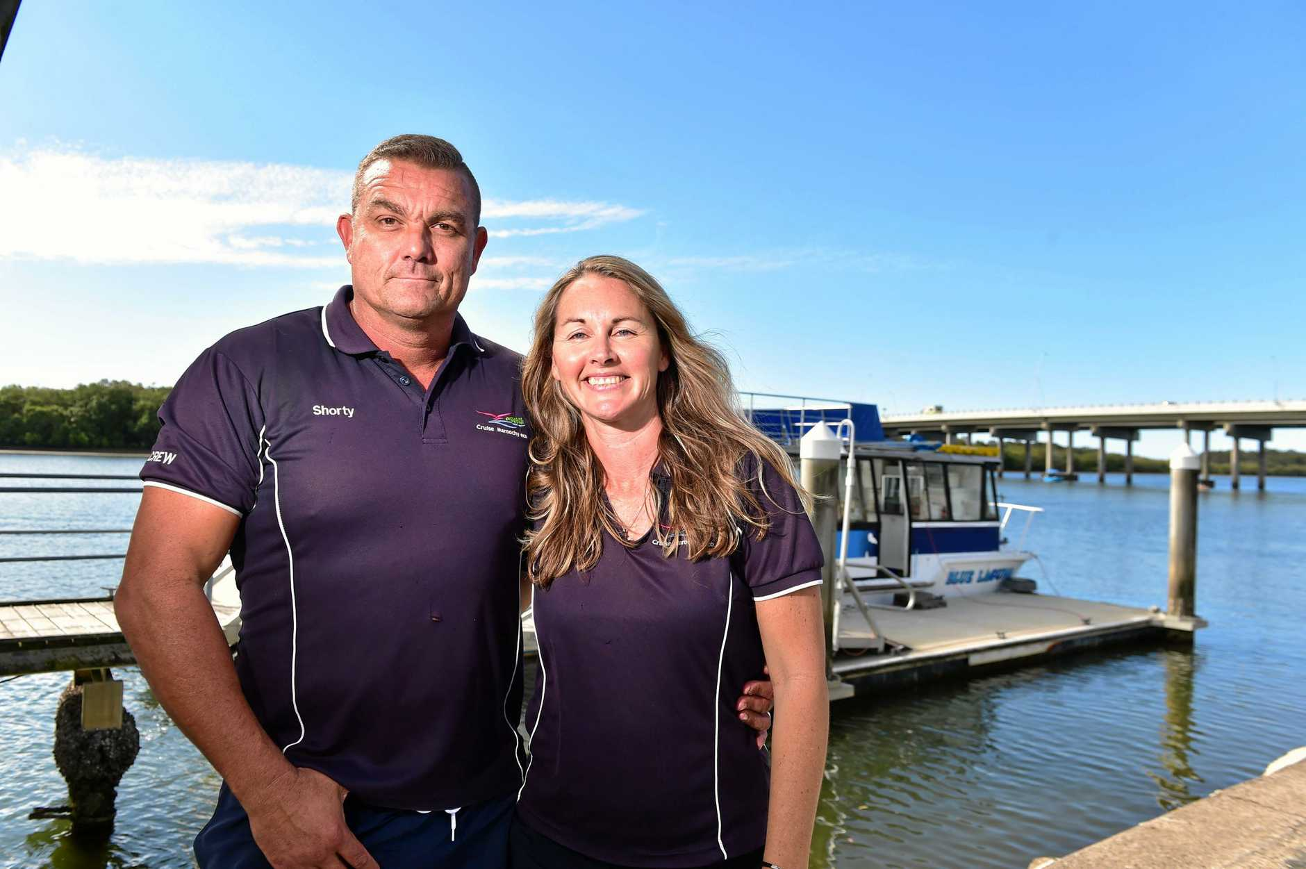 Allan and Sandra Short run Cruise Maroochy and are hosting a one off flying fox river tour. The tour has had huge interest. Photo: Che Chapman / Sunshine Coast Daily
