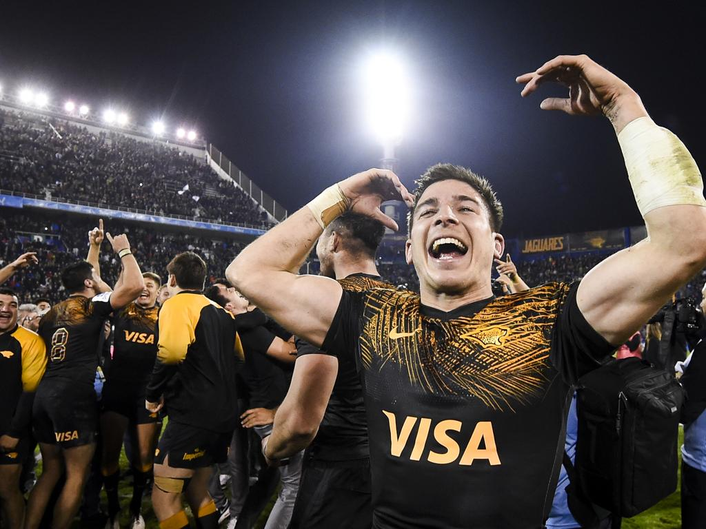 Sebastian Cancelliere of the Jaguares celebrates the win. Picture: Endelli/Getty Images