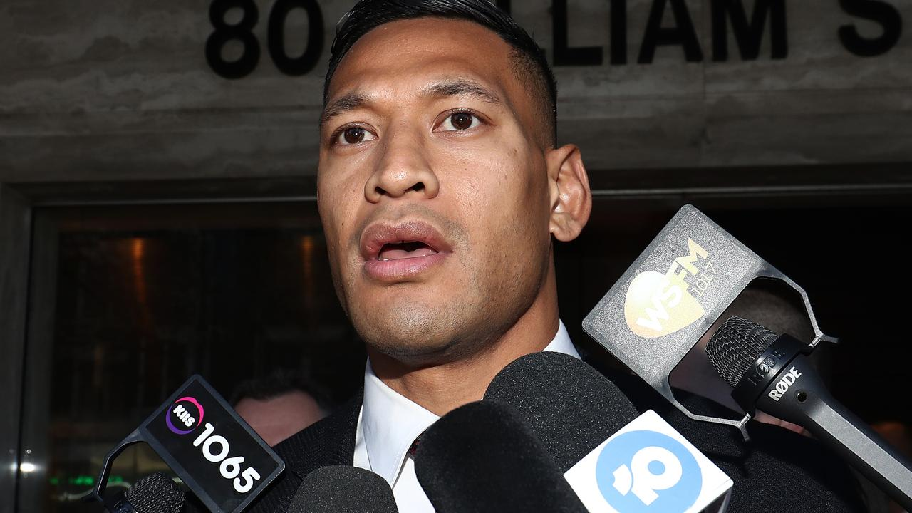 Israel Folau attends a Fair Work Commission hearing on Friday.