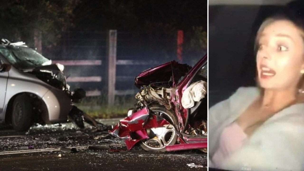 Shania McNeill on Snapchat (right) on the night of her death in a Berkshire Park car crash (left).