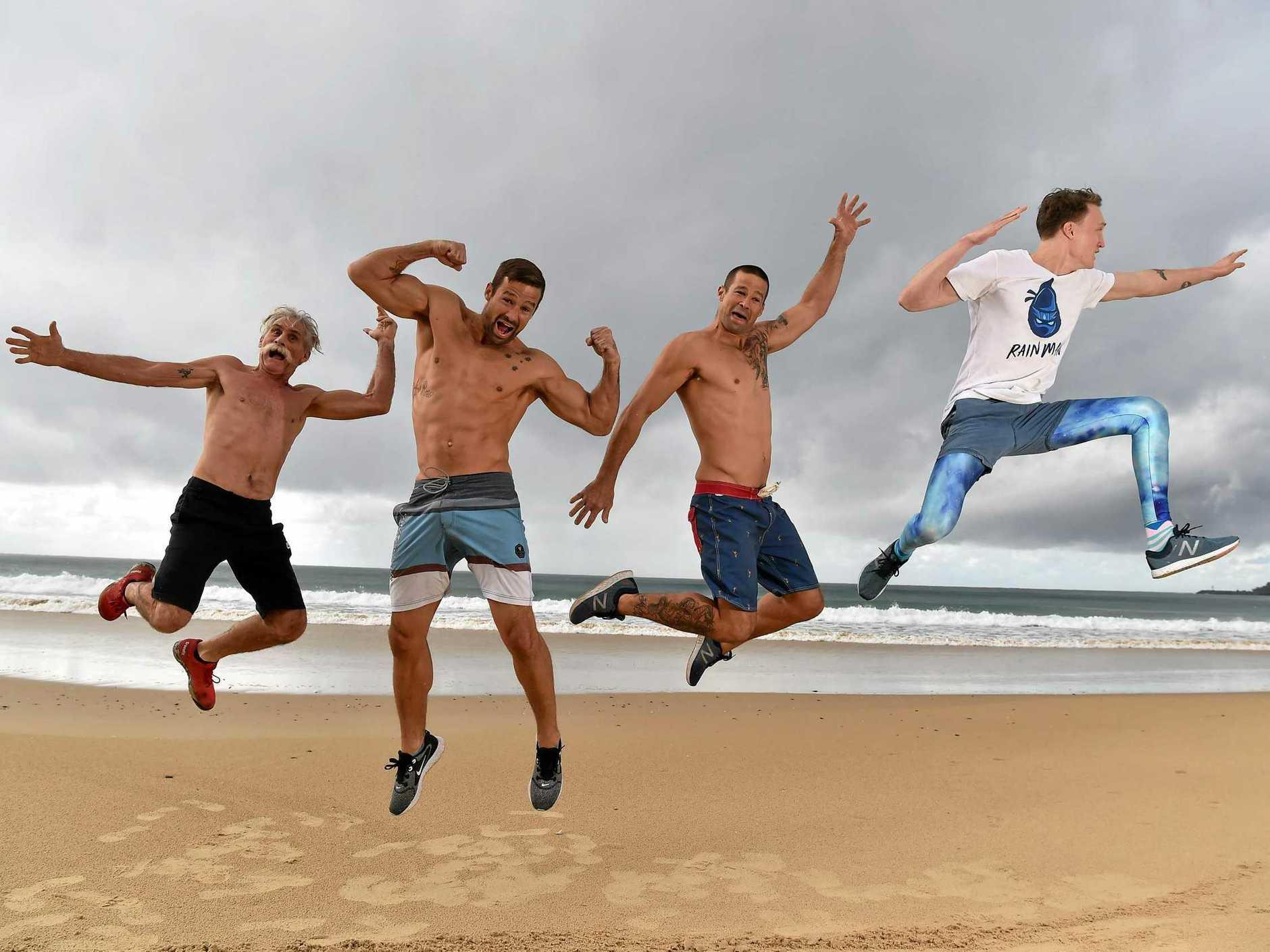 Sunny Coasters competing in the new season of Australian Ninja Warrior. Pa Rambo (real name Ian Newland) Matt and Luke Filippi and Rainer Scheu ready for action.