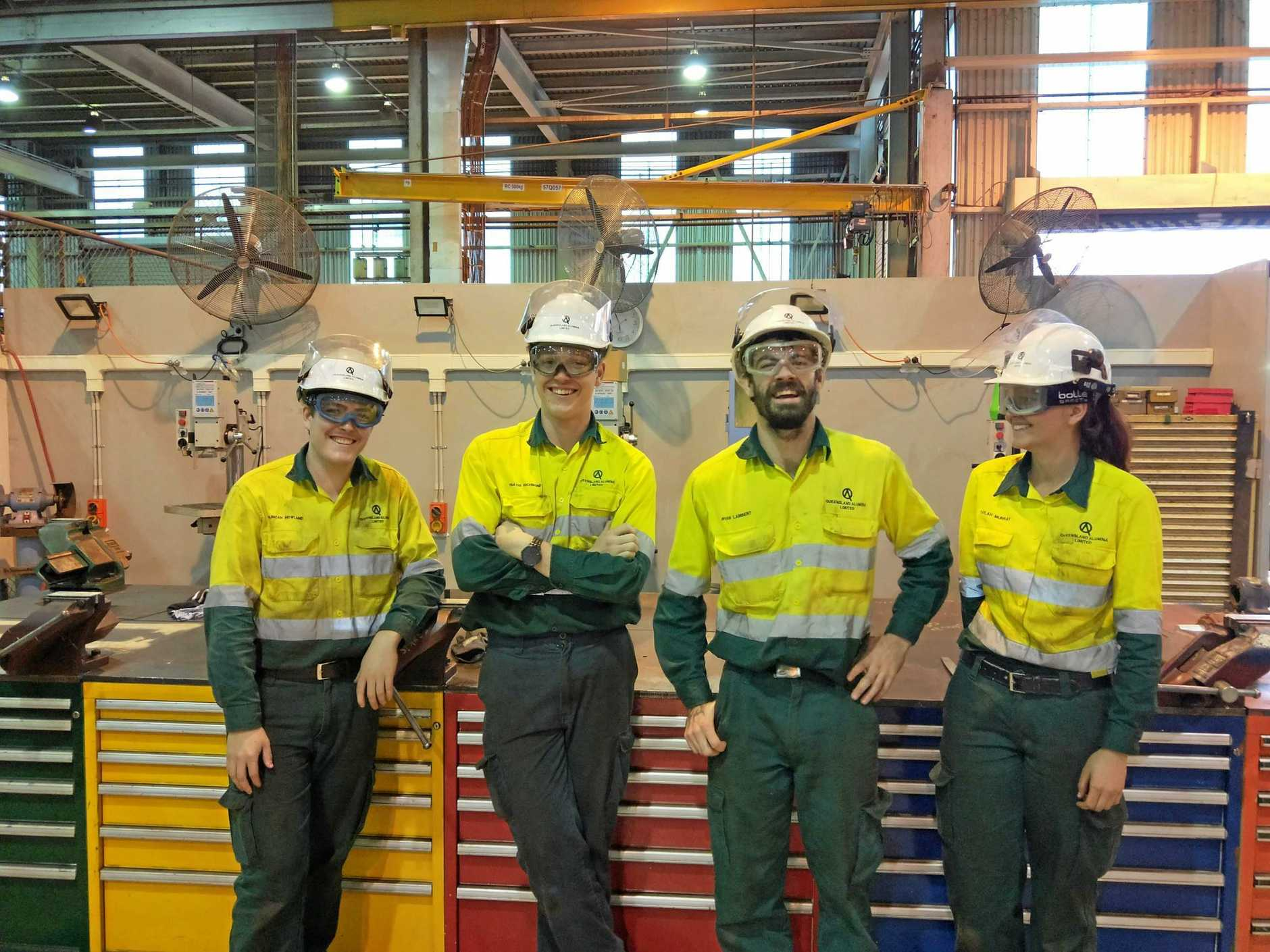JOIN THE TEAM: The QAL 2020 Apprenticeship Program applications are now open. Successful applicants will join apprentices like Duncan Howland, Travis Richmond, Ryann Lambert and Taylah Murray.