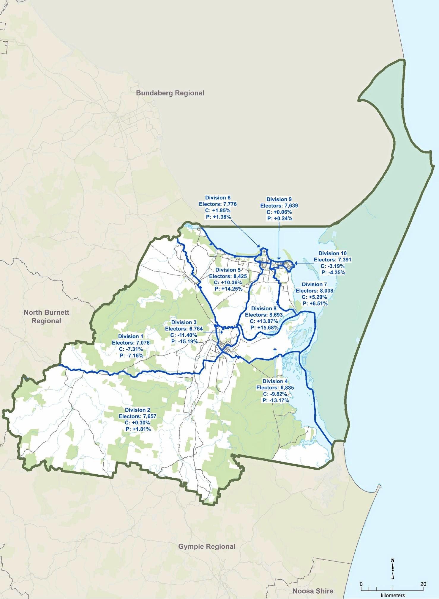 A map of the Fraser Coast Local Government area without the proposed changes.
