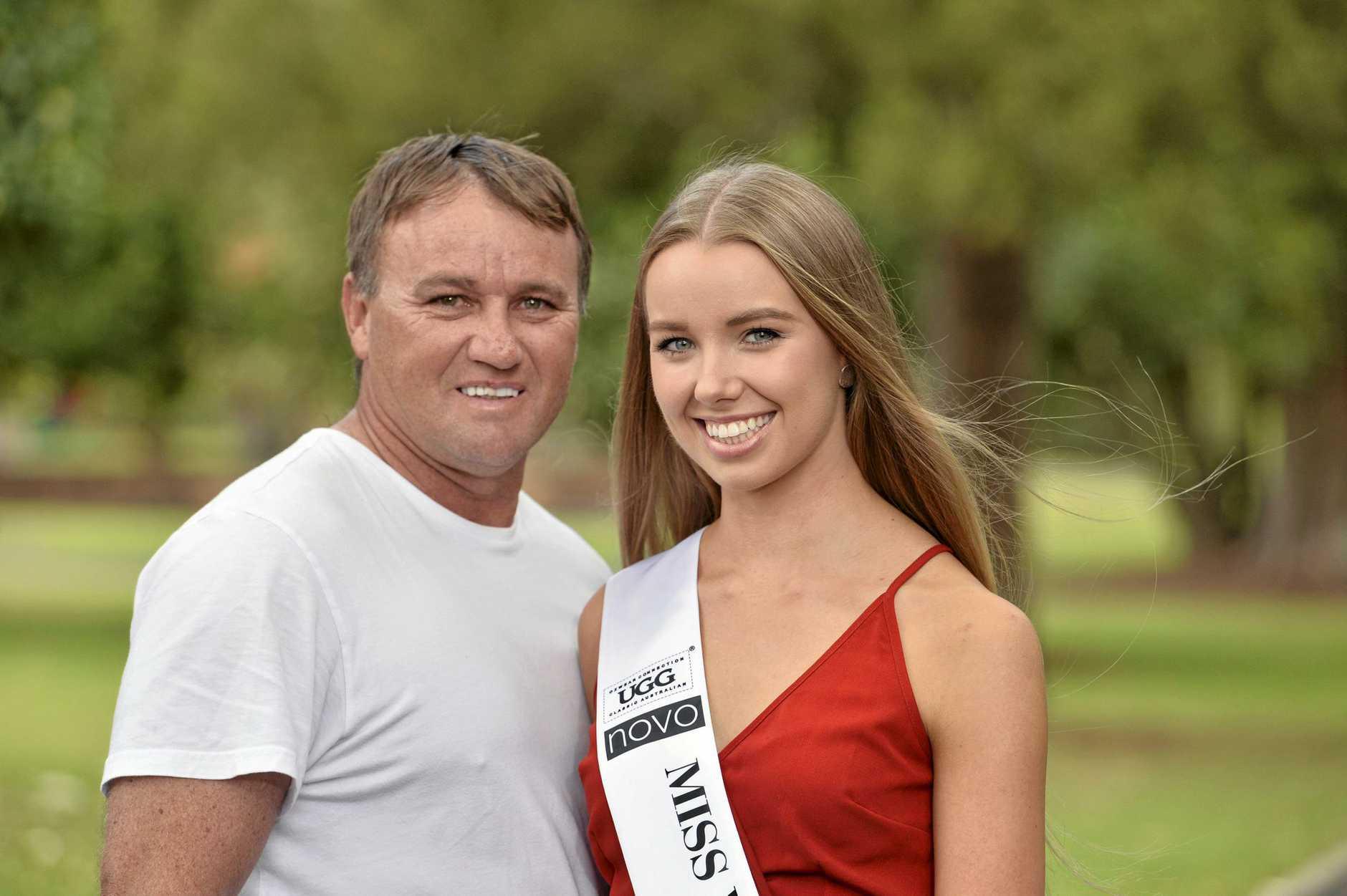 Proud dad Shane Cherry with his daughter Miss World Australia Queensland finalist Mia Cherry, Saturday, June 29, 2019.