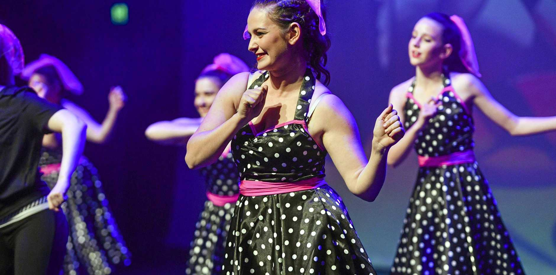 The Shining Stars Seniors class performing Love Shack at the Raw Creative Studios annual showcase 2019, held at Gladstone Entertainment Convention Centre.