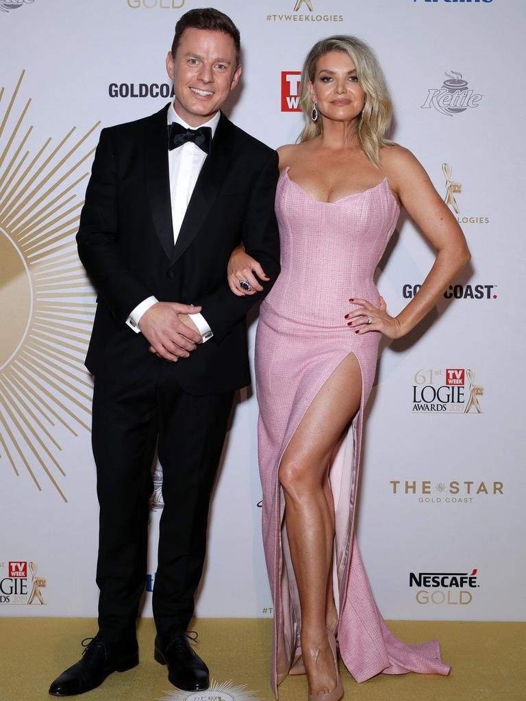 2GB Host Ben Fordham, and Rebecca Harding who looked glam in a split-leg dress. Picture: Matrix