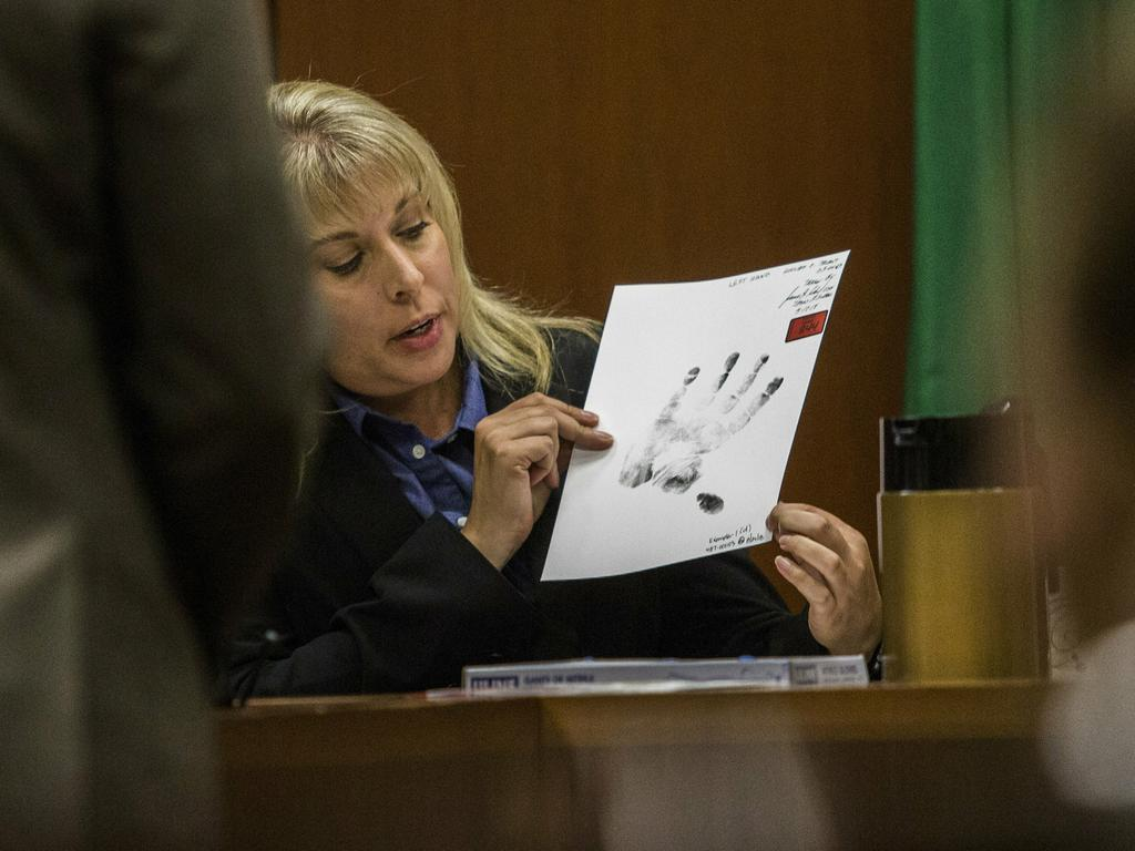 Washington State Patrol forensic scientist Angela Hilliard talks about a palm print of William Talbot II during his trial. Picture: AP