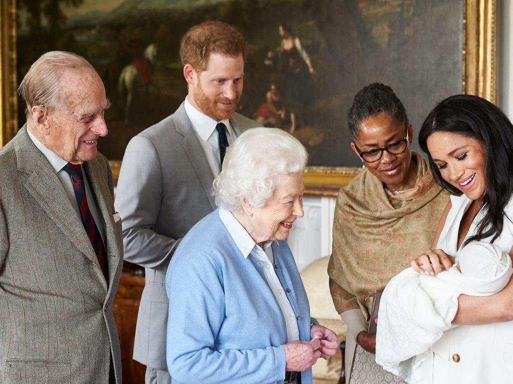 Archie meets the Royal Firm, but the Queen reportedly won't be able to attend his christening. Picture: Getty