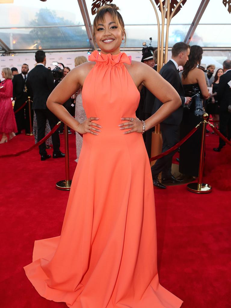 Jessica Mauboy arrives at the Logies. Picture: Getty