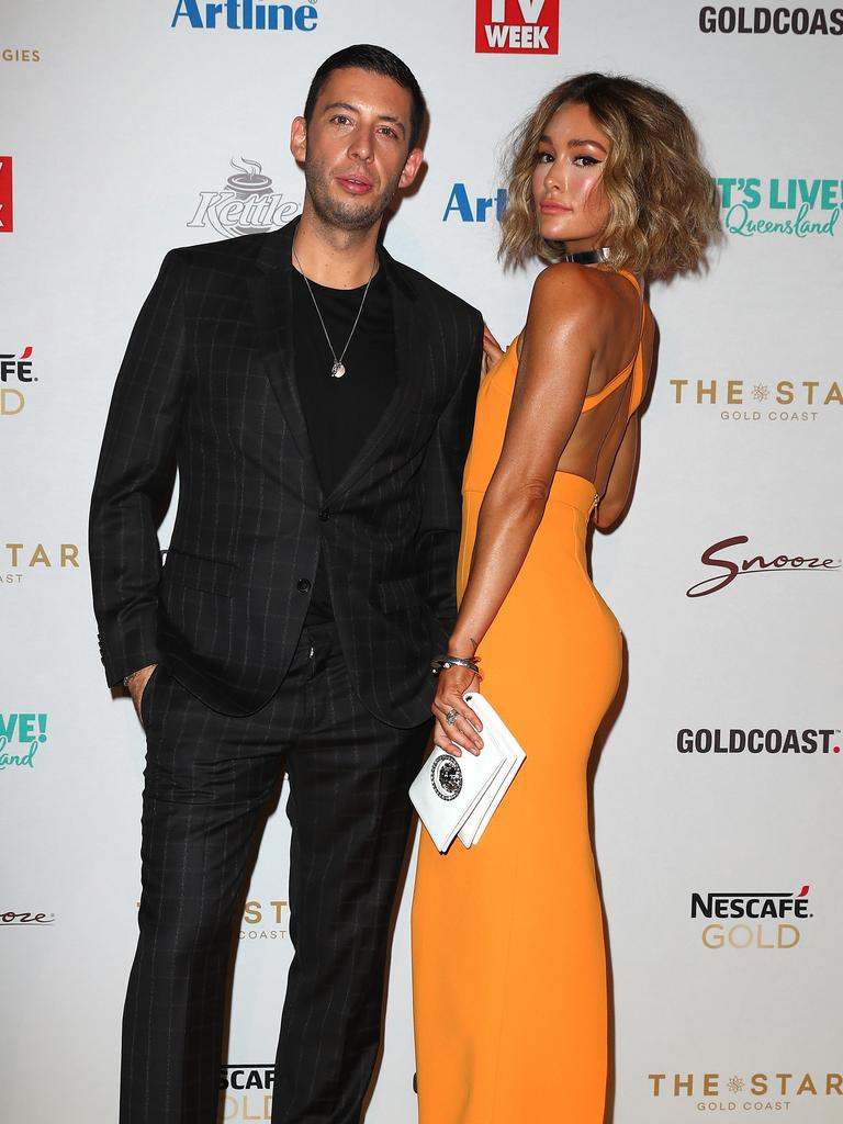 Erin McNaught and Example arrive at the Logies. Picture: Getty