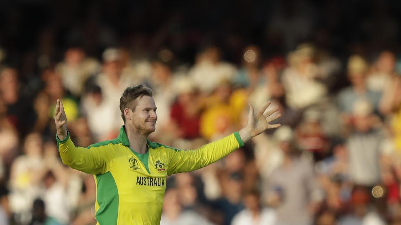 Steve Smith claimed the wicket of New Zealand's Colin de Grandhomme with his first ball.