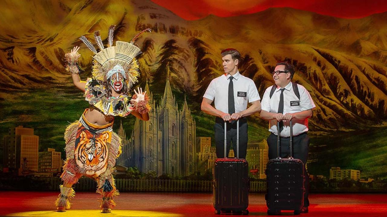 Shauntelle Benjamin, Blake Bowden and Nyk Bielak in The Book of Mormon. Picture: Jeff Busby