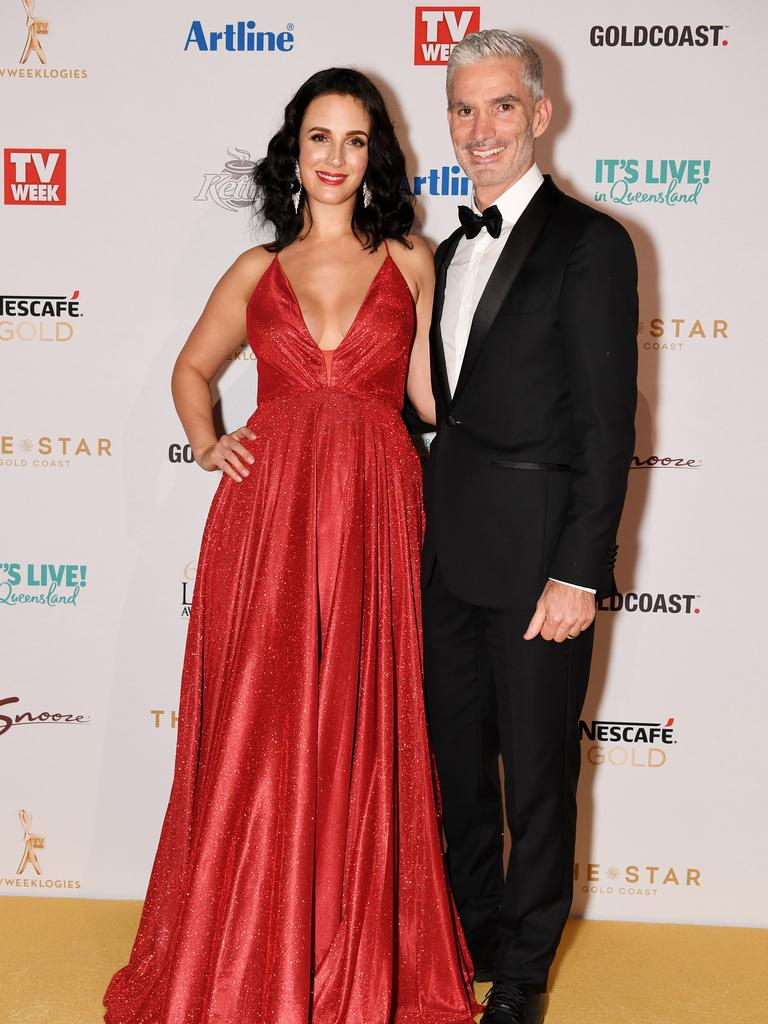 Lucy Zelic and Craig Foster arrive at the Logies. Picture: AAP