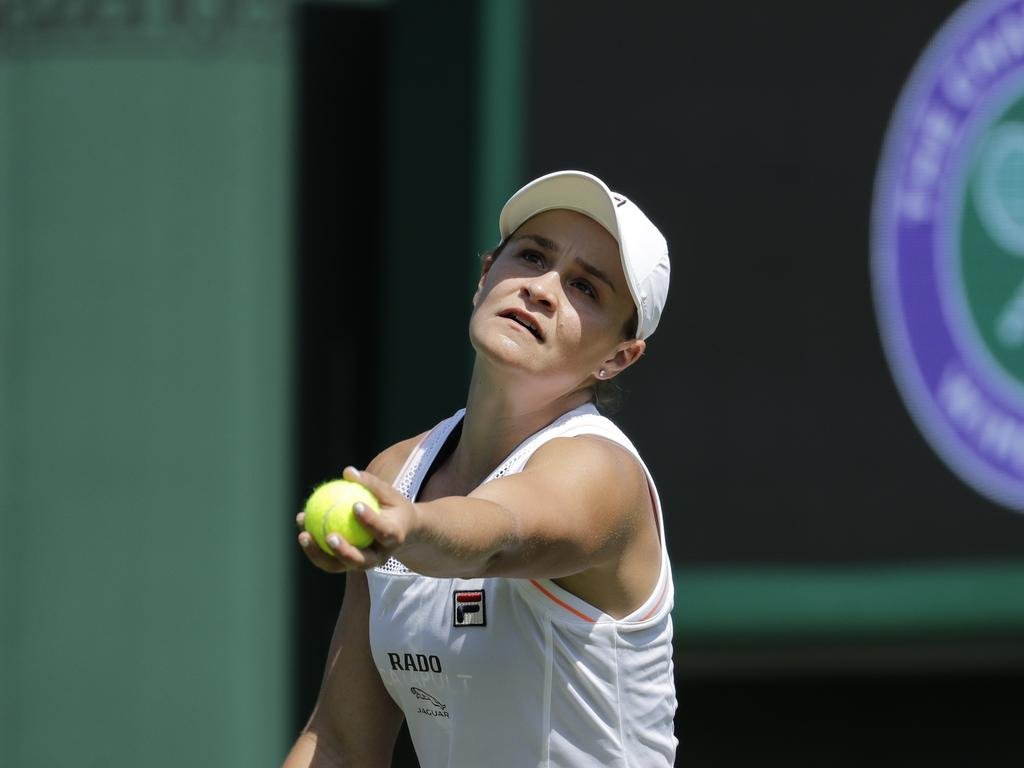 Ashleigh Barty opens her Wimbledon campaign with her first match as world number one. Picture: AP Photo/Ben Curtis