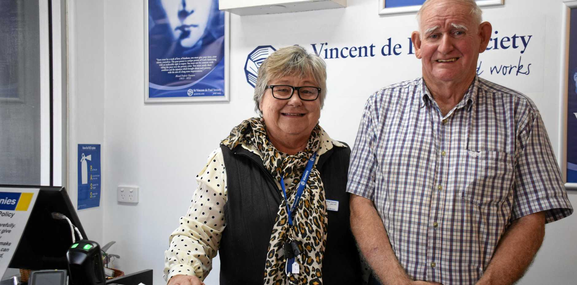 'Felt called to do it': Former schol prioncipal, Cecily Fry and her husband, Kevin at the all new St Vincents de Paul store in Murgon.