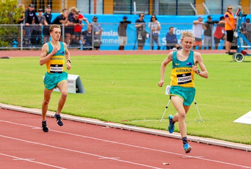 Jude Thomas displays his determination on his way to a gold medal at the Oceania Championships in Townsville.