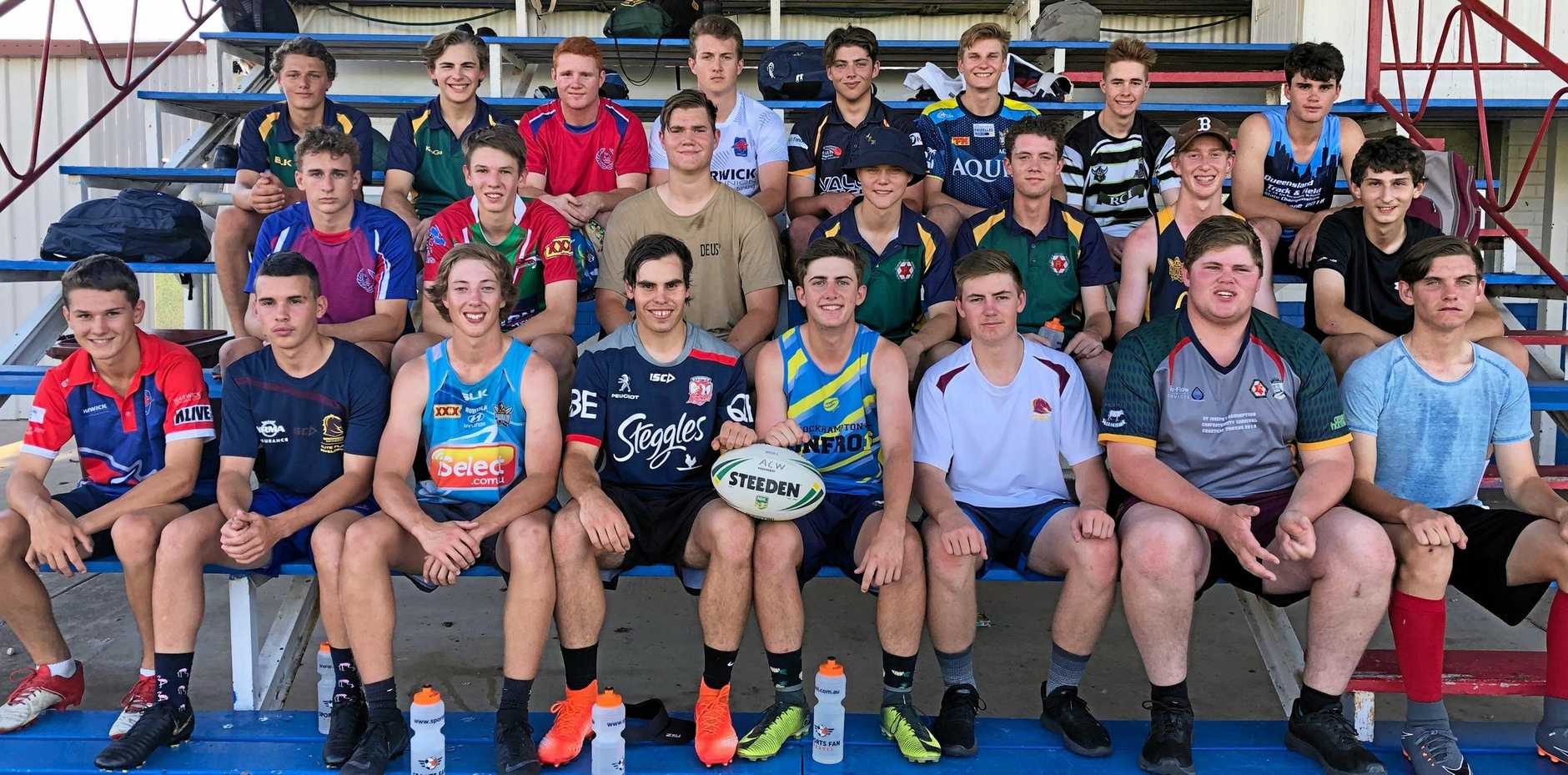 LONE SOLDIER: The Assumption College squad for the Confraternity Shield. Stanthorpe's Lachlan Mahoney is pictured back row, second from right, alongside his team mates.