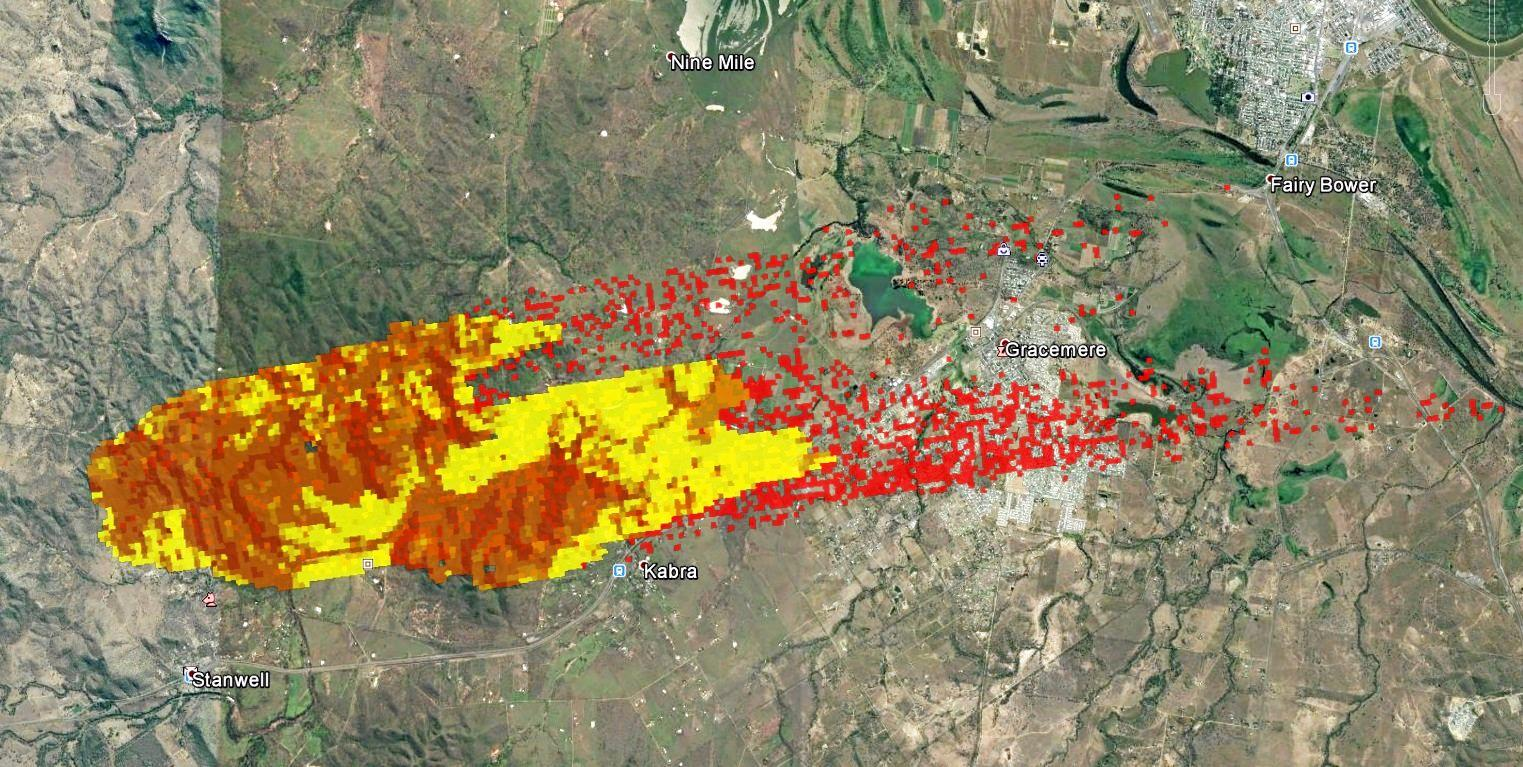 The predicted path of the Stanwell fire that forced the evacuation of over 8000 people from Kabra, Gracemere and the surrounding areas. The state government released this image, which was made using predictive technology to show the potential path of the fire.