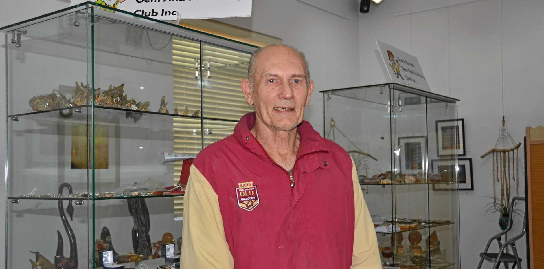 LOCAL EXHIBITOR: Max Walters has been busy setting up the South Burnett Gem Stone Club's exhibition at the Kingaroy Regional Art Gallery.