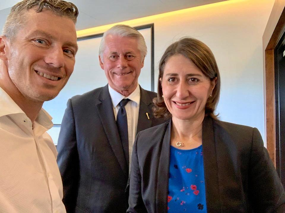 Tweed Shire Councillor James Owen with Tweed MP Geoff Provest and NSW Premier Gladys Berejiklian.