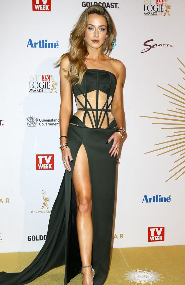 Isabella Giovinazzo stuns as she steps out onto the Logies red carpet wearing a revealing khaki gown. Pictures: Matrix Pictures