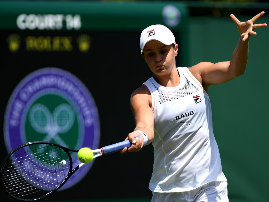Ash Barty in a practice session ahead of The Championships at the All England Lawn Tennis and Croquet Club. Picture: Matthias Hangst/Getty Images