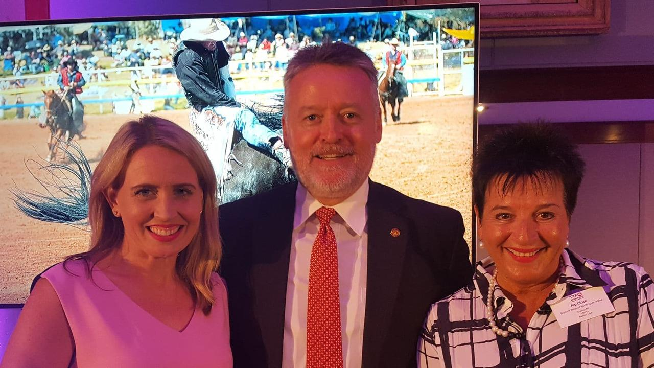 Tourism Minister Kate Jones, Cairns MP Michael Healy and Tourism Tropical North Queensland CEO Pip Close meet in Brisbane to start negotiations to try stop Cathay Pacific from cutting its Cairns-Hong Kong flight route. PICTURE: SUPPLIED