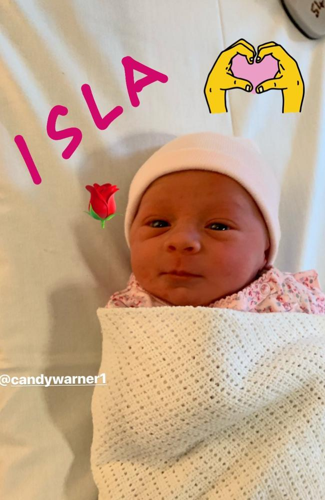 Candice Warner posted this adorable picture of her newborn daughter.
