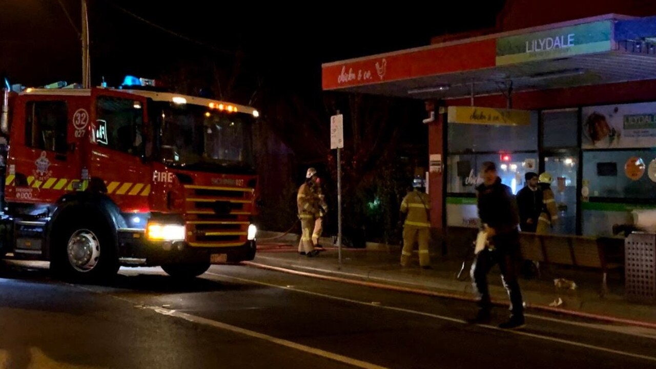 Firefighters outside a Murrumbeena nursing home. Picture: Andrew Faram
