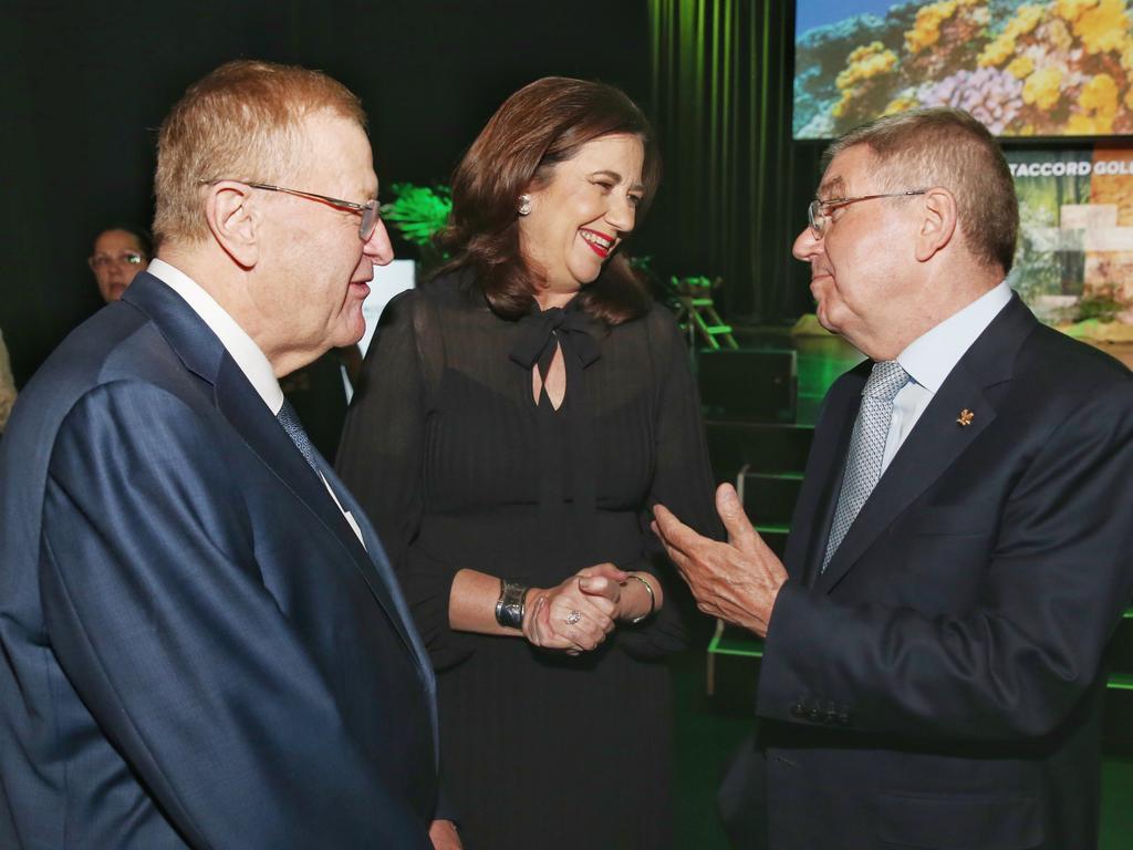 AOC president John Coates with Premier Annastacia Palaszczuk and IOC president Thomas Bach.