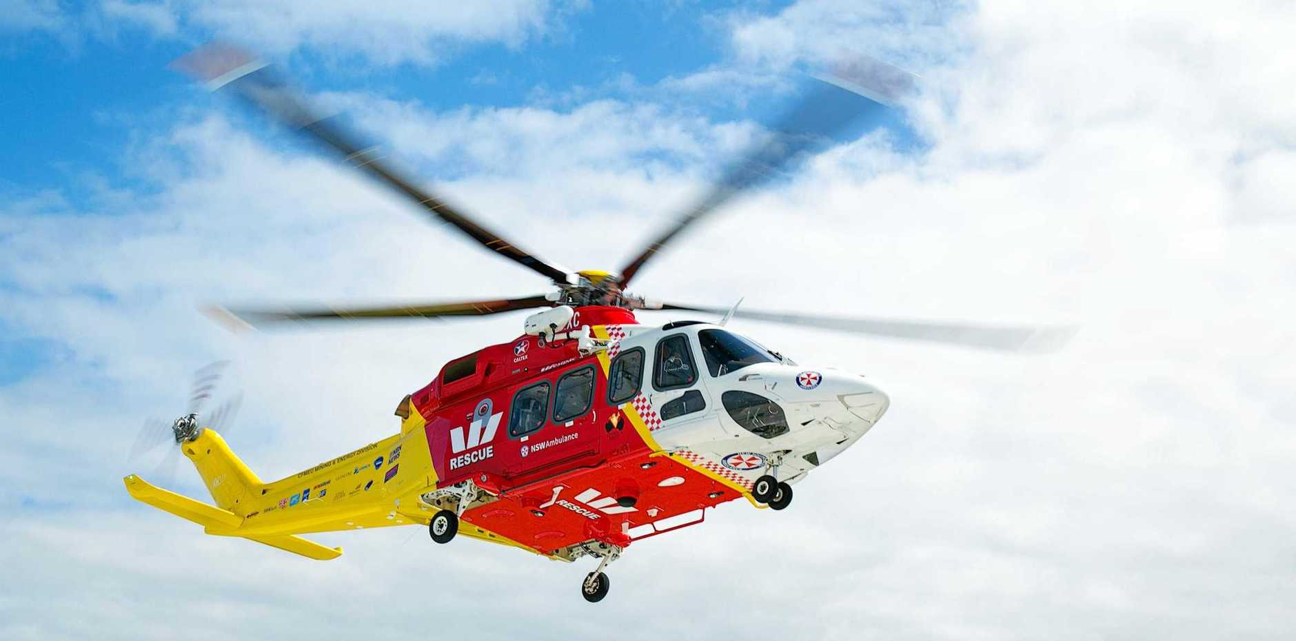 A man has been flown to the Gold Coast suffered a serious head injury.