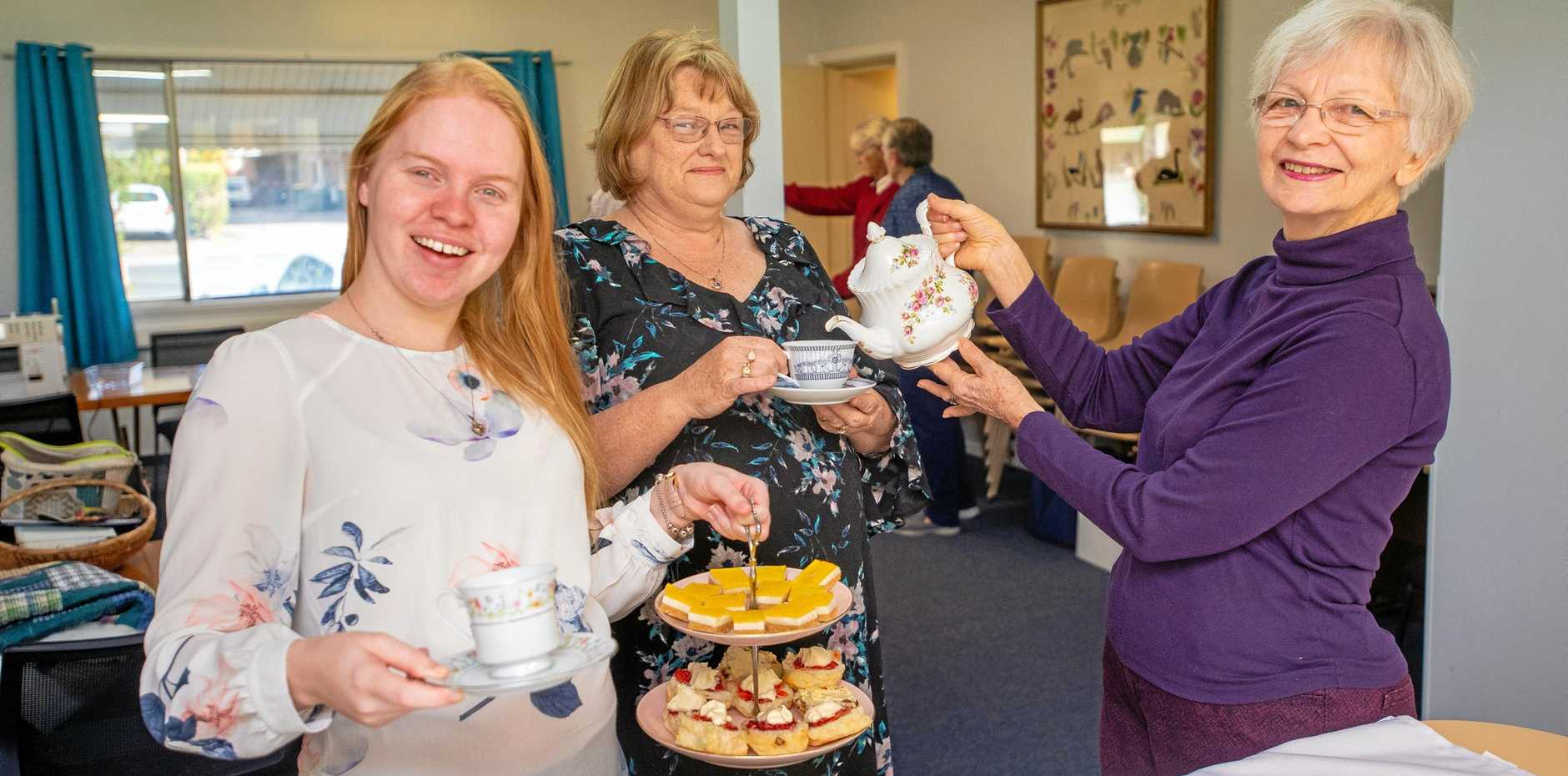 HIGH TIME FOR CHANGE: CWA members, Mikayla Pennisi, Robyn Kerr, June Kelly prepare for Saturday's High Tea