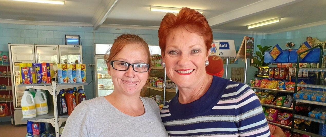 BACKING BUSINESSES: Katie Dawes, the daughter of Grandma's Groceries and Coffee Shop owner Susan Bruce, with Senator Pauline Hanson.