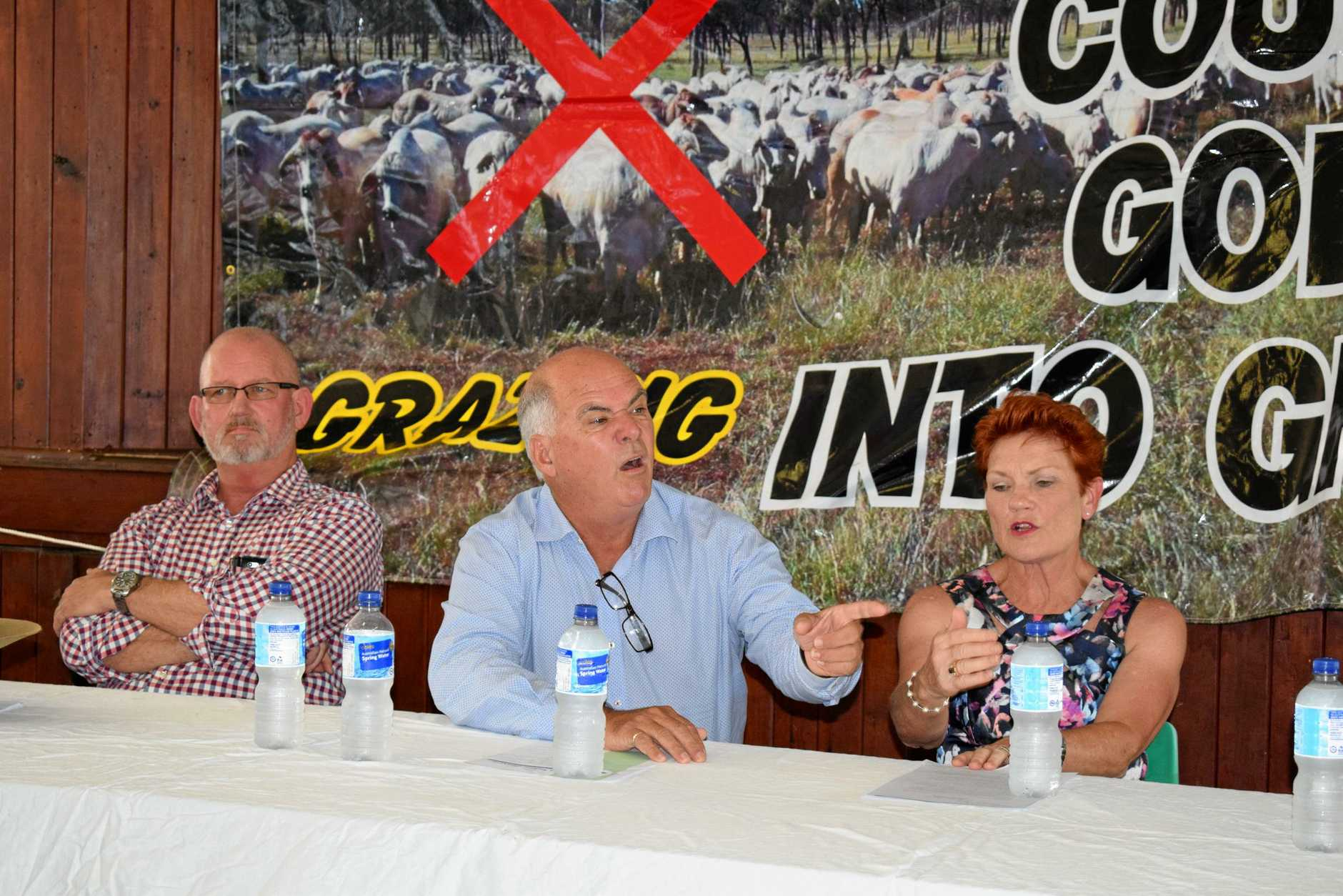 Rockhampton MP and Queensland Agriculture Minister Bill Byrne, Livingstone Mayor Bill Ludwig and Queensland Senator and One Nation Party Leader Pauline Hanson
