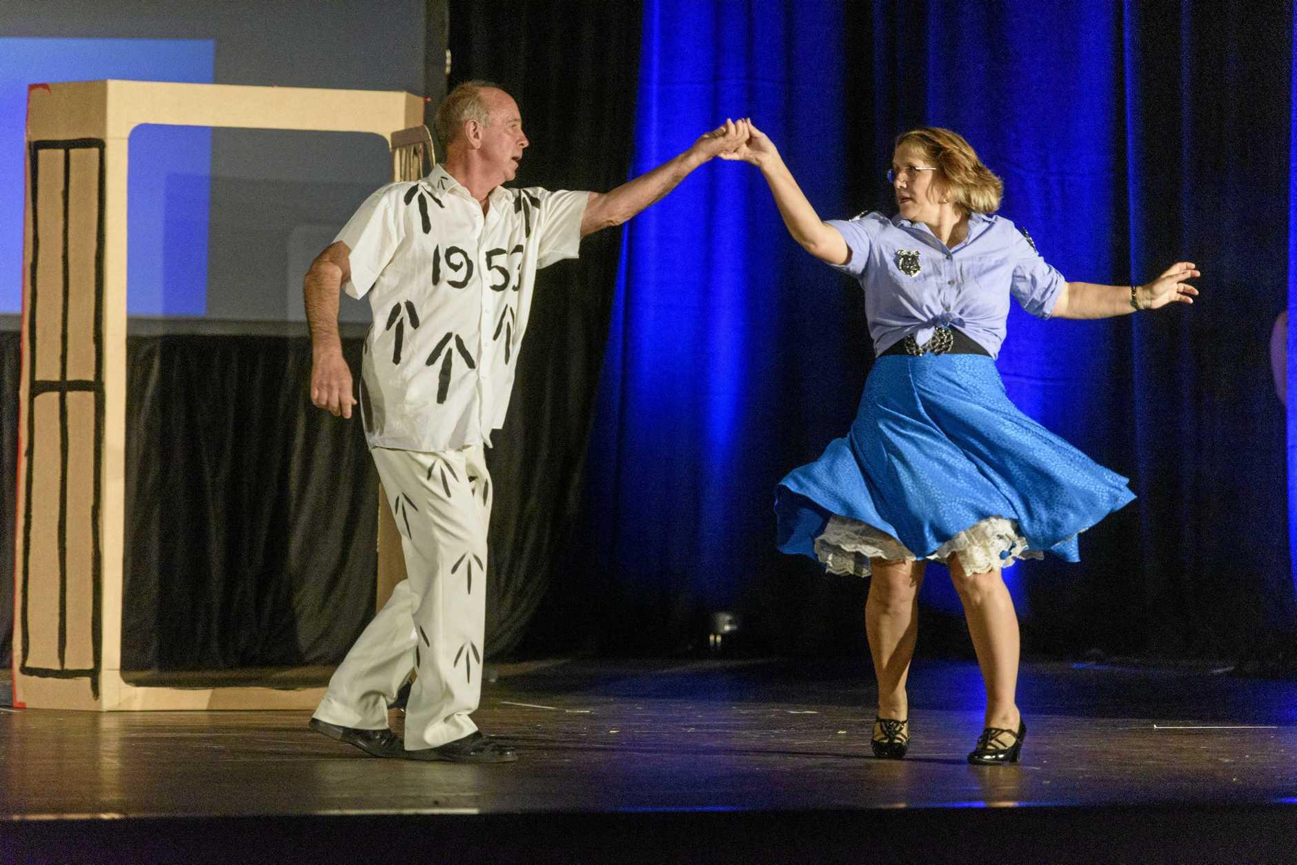 Teacher Lorraine Lloyd and Doug Davis dance to Jailhouse Rock in their Rock'n Roll themed dance for Stars of Clarence
