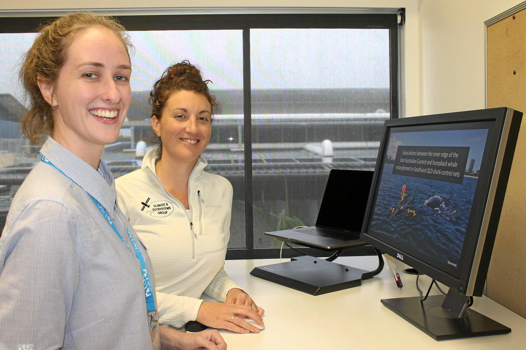 STUDY: Ms Bolin and her supervisor, senior lecturer in animal ecology Dr Kylie Scales.