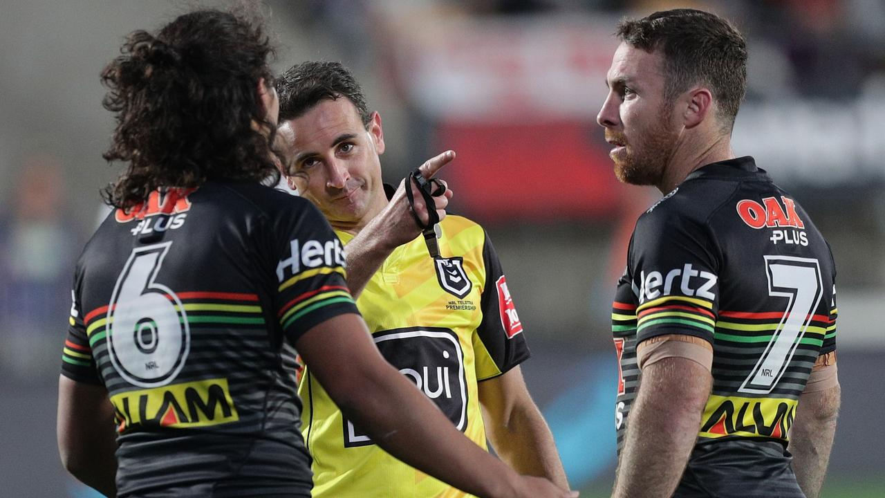 Referee Gerard Sutton sends Jarome Luai to the sin bin. Picture: AAP