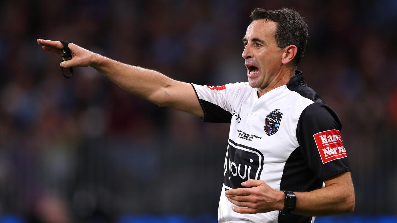 Referee Gerard Sutton has been retained for the State of Origin series decider. Picture: Getty Images