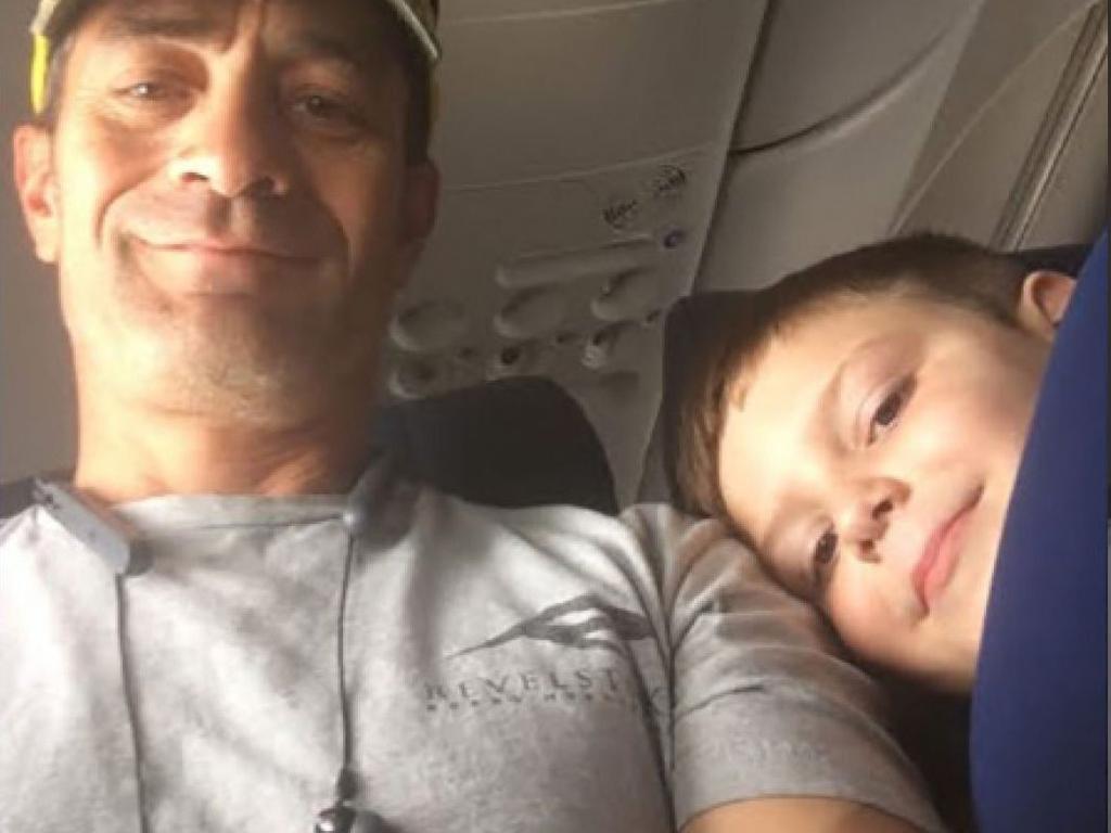 Mr Pedraza, left, sent Landon's mum a message, confirming that the two became 'travel buddies' on the flight. Picture: Alexa Bjornson/Ben Pedraza.