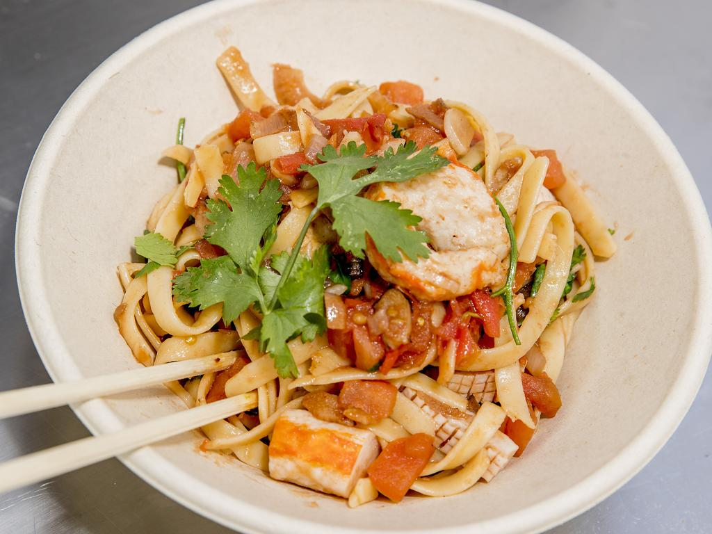 Absorbed Co's seafood pasta dish with all plant-based seafruits. Picture: Jerad Williams