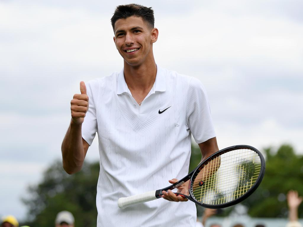 Alexei Popyrin of Australia celebrates victory against Pablo Carreno Busta of Spain. Picture: Mike Hewitt/Getty Images