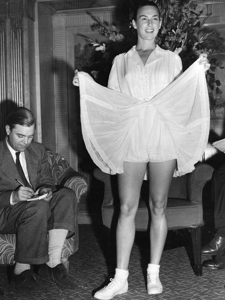 Gussie Moran showing off her Wimbledon outfit. Picture: Keystone/Getty Images