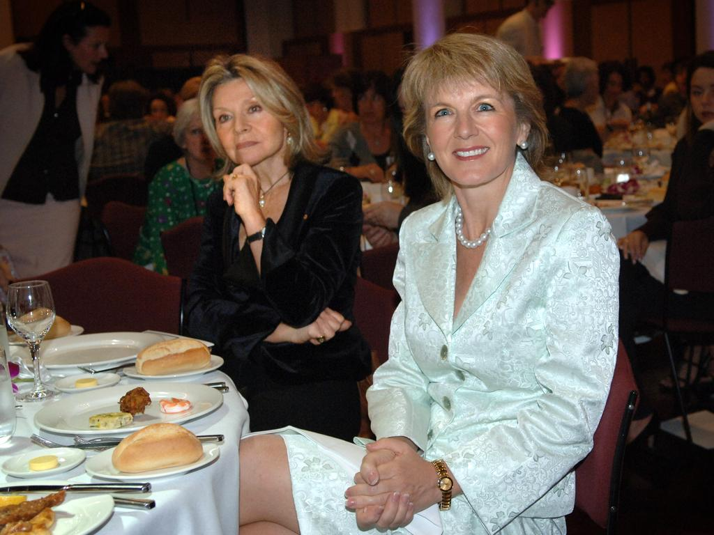 Fashion designer Carla Zampatti and Ms Bishop, who was Minister for Education at the time, at the International Women's Day Luncheon at Parliament House in Canberra in 2006.