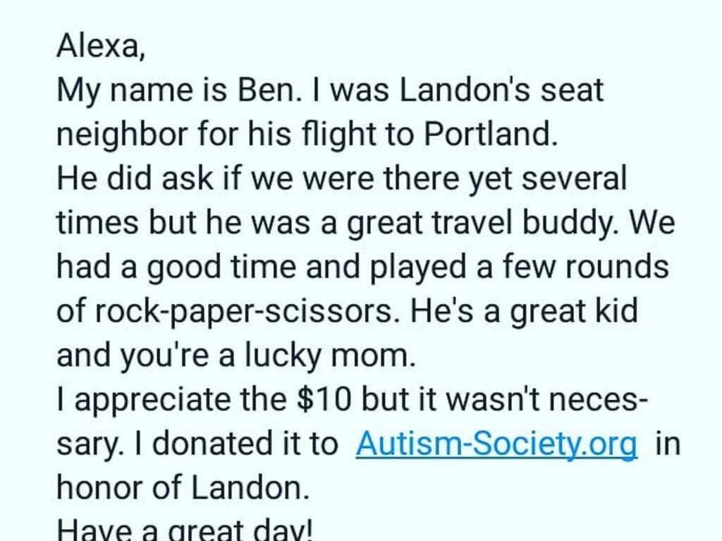 Alexa received this message from a stranger who became a 'buddy' with her son, who has autism.