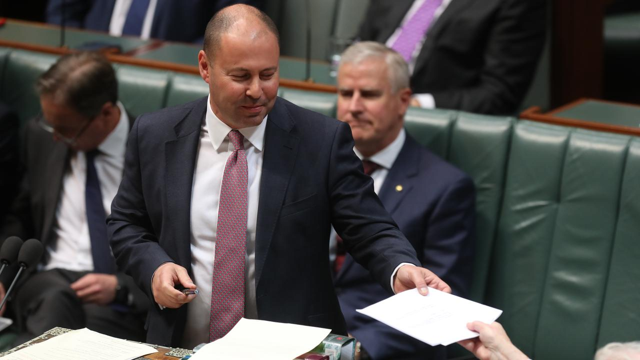 Treasurer Josh Frydenberg introducing the tax cuts package in the House of Representatives on Tuesday night. Picture: Kym Smith