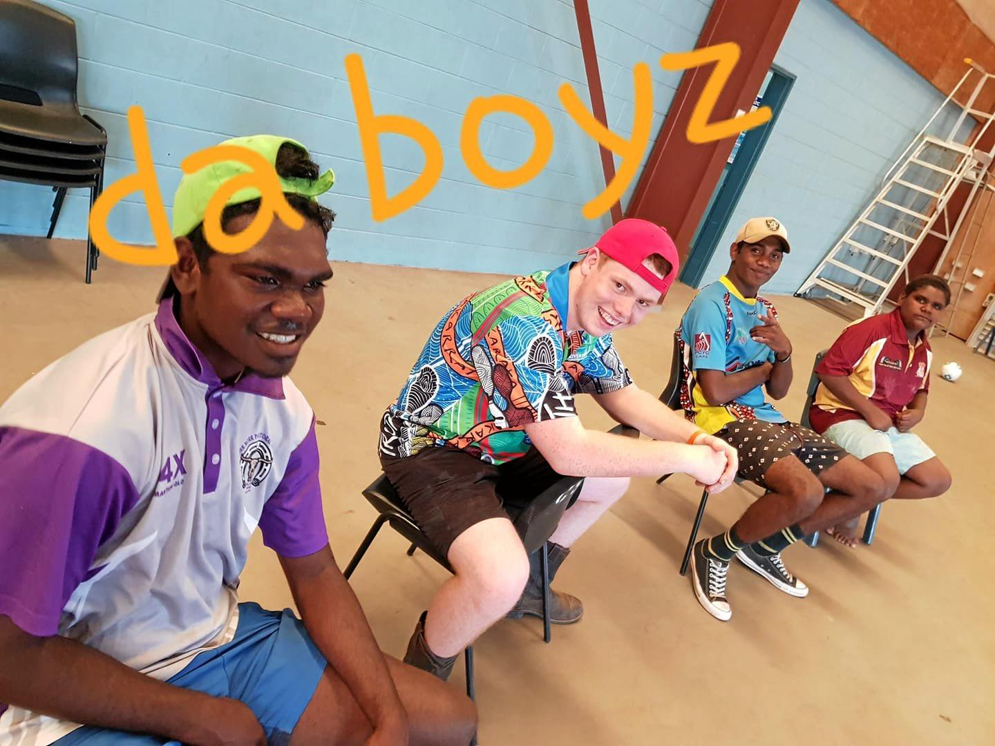 Riverside Christian College student Ryan Harrold is chillin' with da boyz and hanging out at the Normanton Sports Centre where they will join in activities including footy, basketball, some form of netball, and bubble wands.