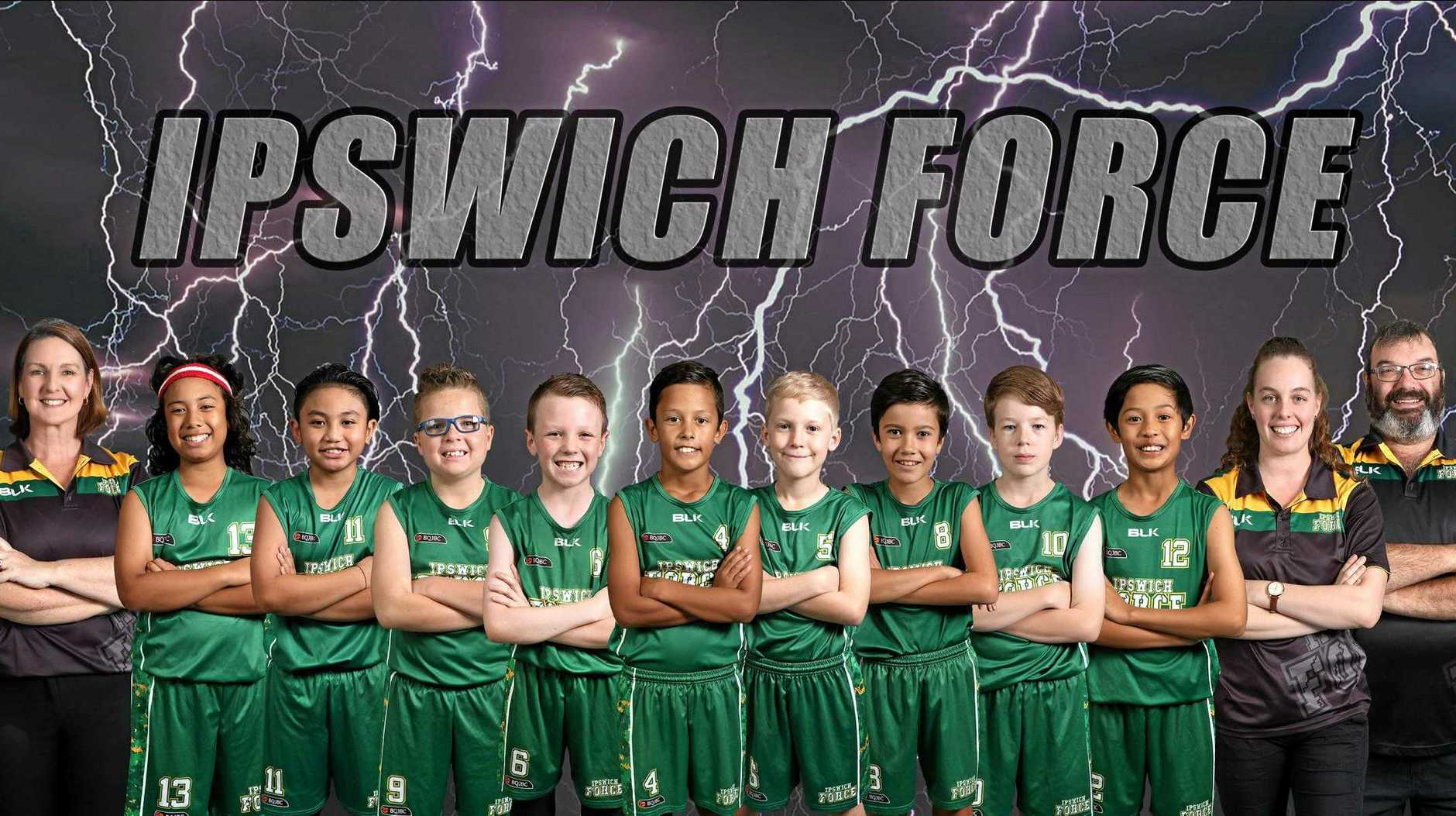 The Ipswich Force under-12 Division 2 basketball team.
