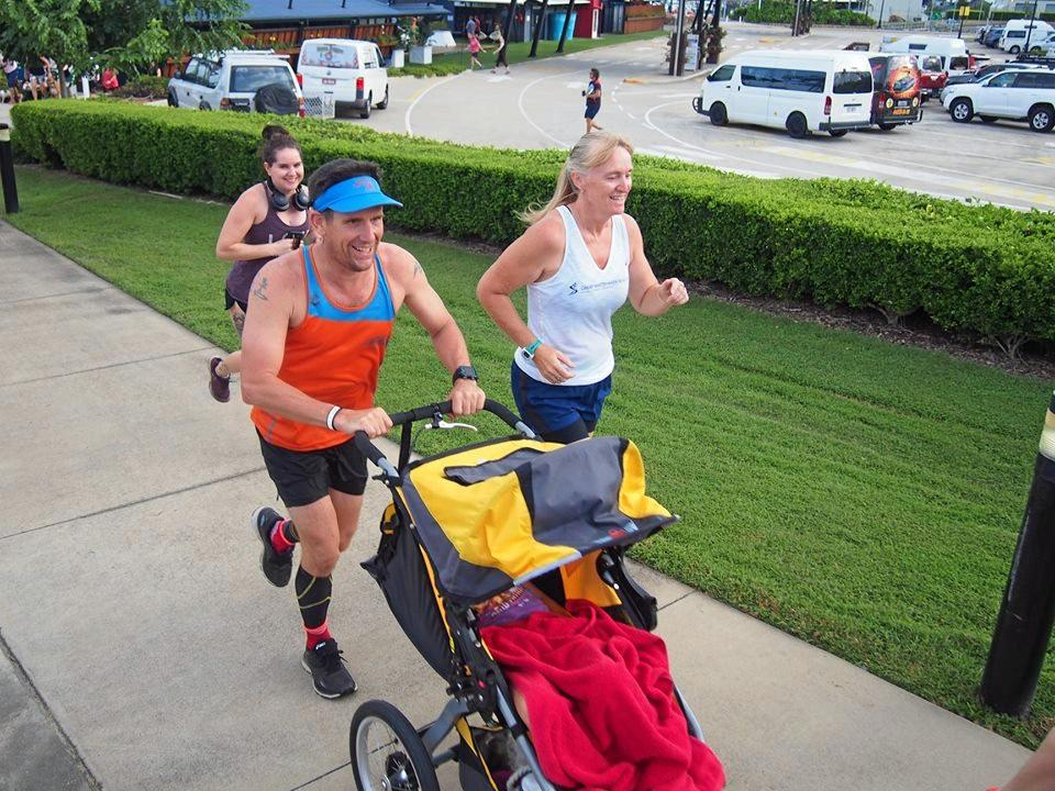 Justin Knight-Gray and Karen Maddock in action at the 176th Airlie Beach parkrun earlier this year.