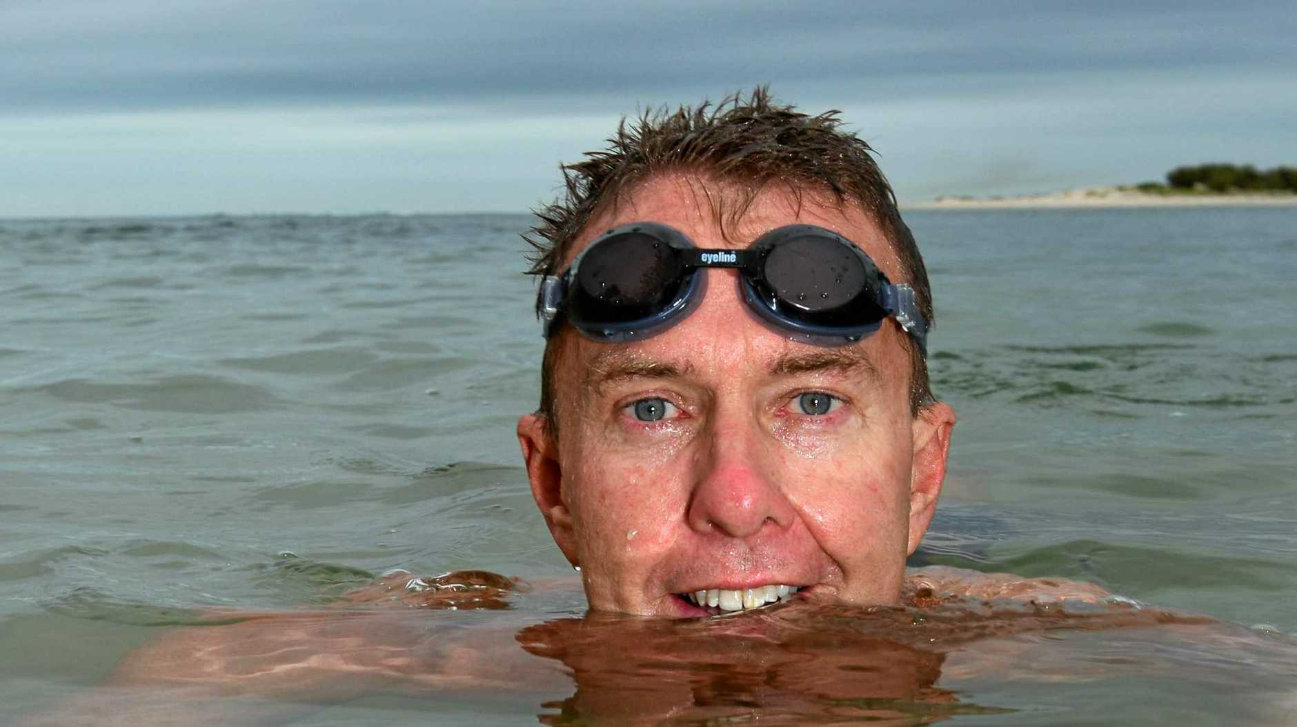 SURVIVOR: Former Caloundra man Peter Schultz, who swam the English Channel, was bitten by a shark in Manly on Tuesday morning.